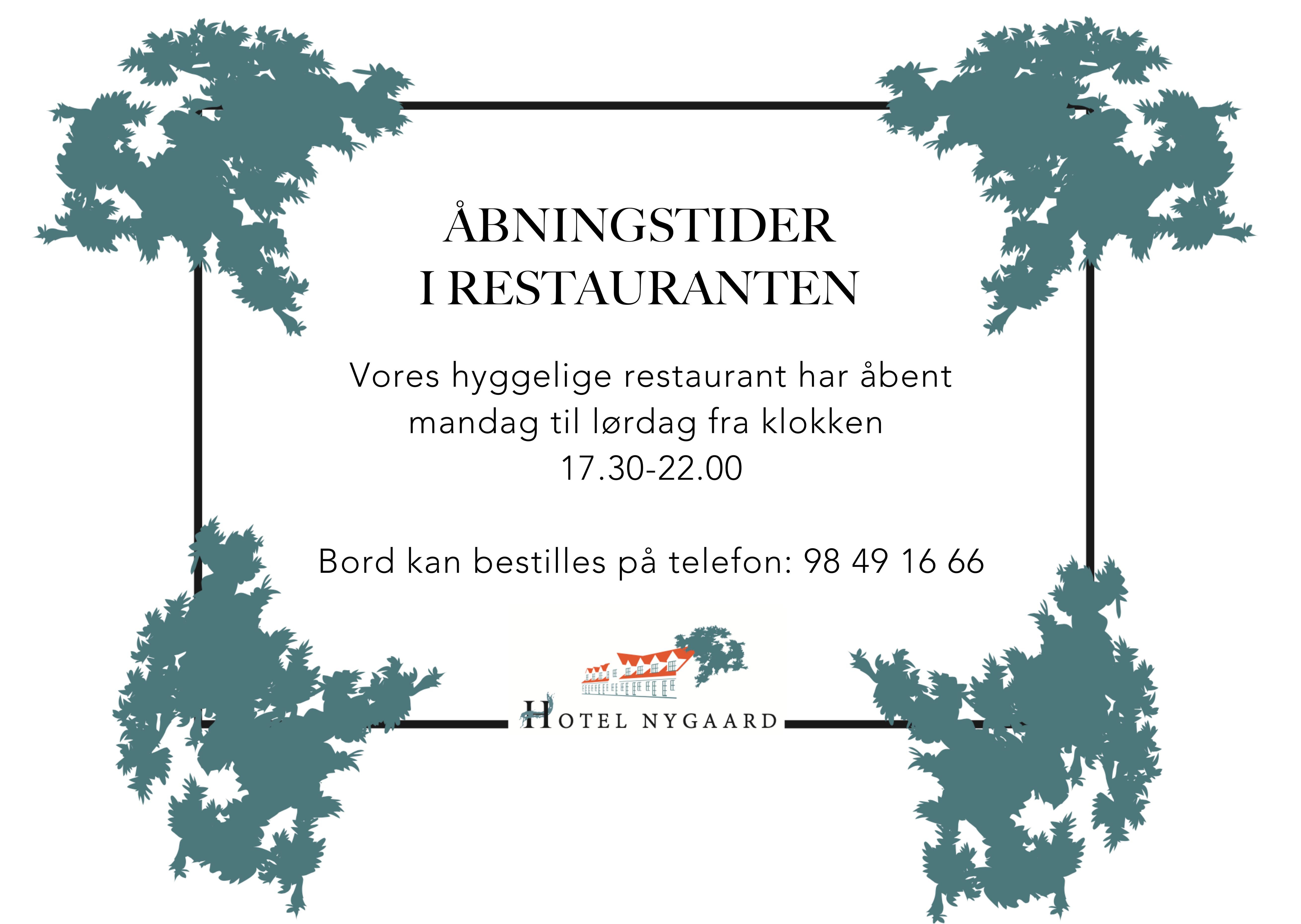 Åbningstider på Hotel Nygaard, Læsø